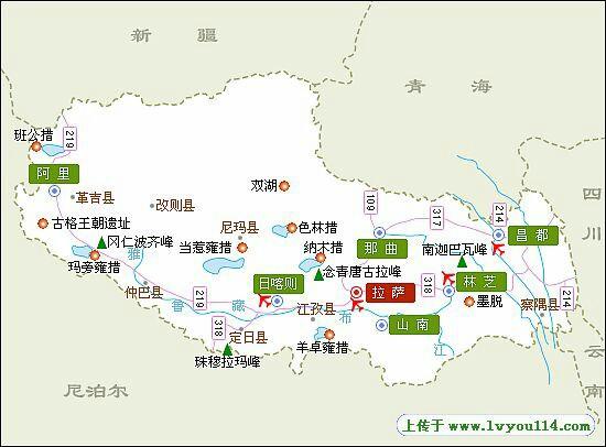 青海到西藏景点地图