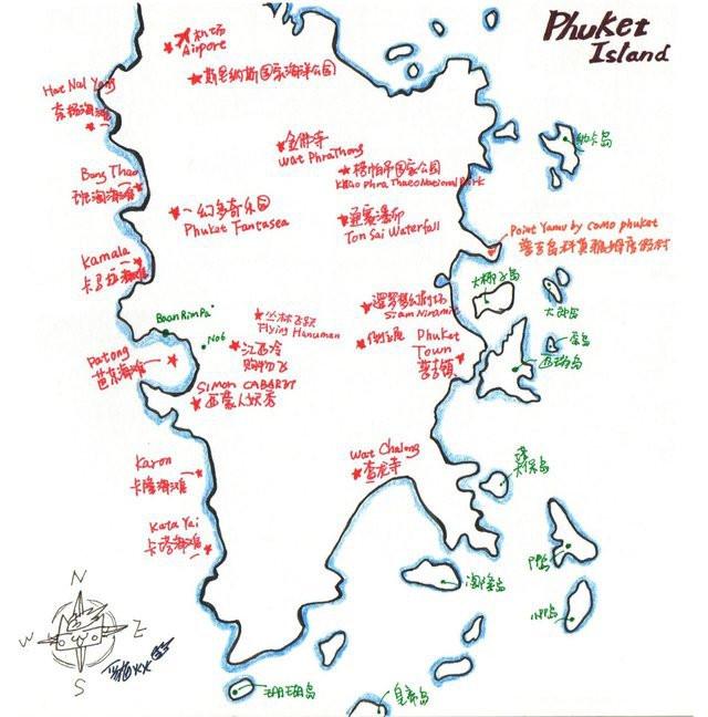 【火火手绘普吉岛地图】