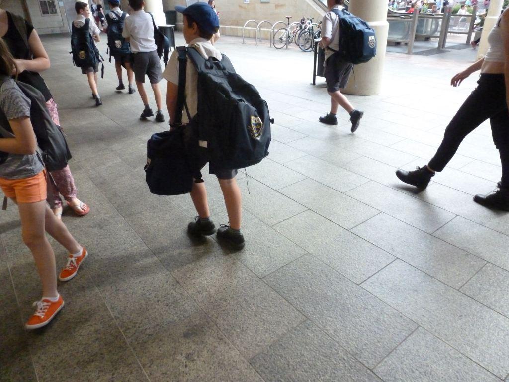 放学的小学生.竟然背着两书包.如此重负,背的应该不是书吧.图片
